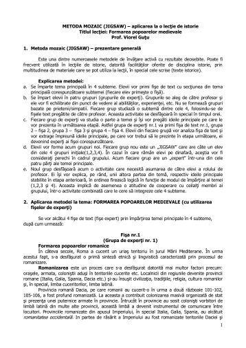 METODA MOZAIC (JIGSAW) – aplicarea la o lecţie de ... - Didactic.ro