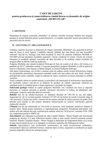 Caiet de sarcini vin licoros DOC Murfatlar - onvpv