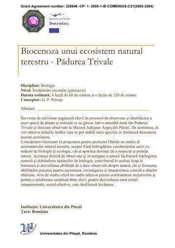 Biocenoza unui ecosistem natural terestru - Pădurea Trivale