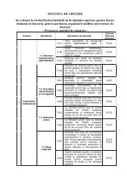 Sistemul de criterii de evaluare la nivelul fiecarei institutii de ...