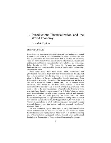 1. Introduction: Financialization and the World Economy - PERI