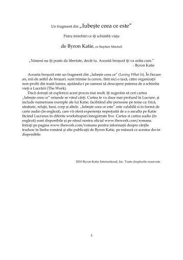 """Un fragment din """"Iubeşte ceea ce este"""" - The Work of Byron Katie"""