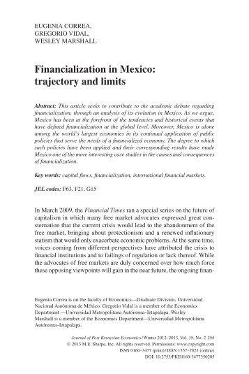 Financialization in Mexico - Dr. Gregorio Vidal