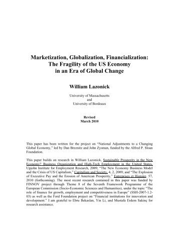 Marketization, Globalization, Financialization - University of York