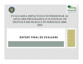 Evaluarea intermediara a Planului National de Dezvoltare Rurala