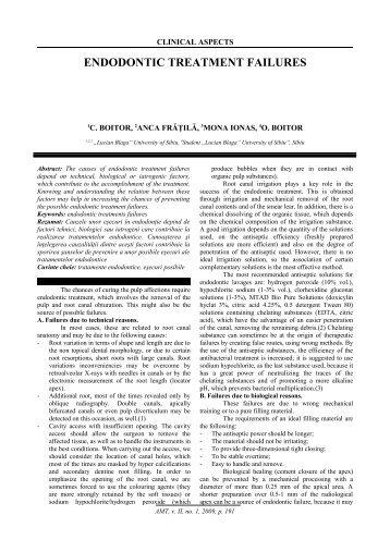 ENDODONTIC TREATMENT FAILURES