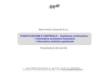 PIANIFICAZIONE E CONTROLLO – Assistenza continuativa ...