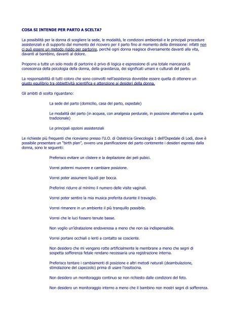 Cosa Si Intende Per Parto A Scelta La Massimo Luerti