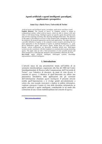 Agenti artificiali e agenti intelligenti - Dipartimento di Informatica