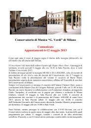 6 maggio 2013 - Appuntamenti 6-12 maggio - Conservatorio di Milano