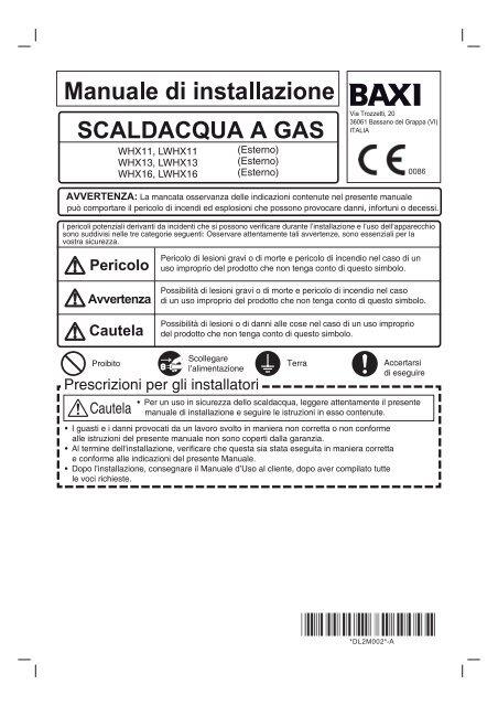 Manuale d 39 installazione acquatech whx11 whx13 whx16 for Absoluta 16 manuale installazione