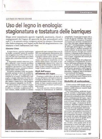 Uso del legno in enologia: stagionatura etostatura ... - Tebaldi