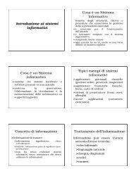Introduzione ai sistemi informativi Cosa è un Sistema Informativo ...