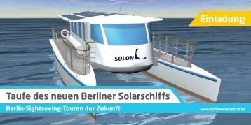 Taufe des neuen Berliner Solarschiffs Einladung