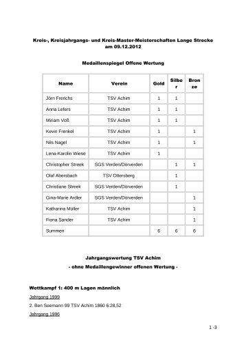 Wettkampf 1: 400 m Lagen männlich - TSV Achim