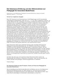 Die Salamanca Erklärung und der Aktionsrahmen zur Pädagogik für ...
