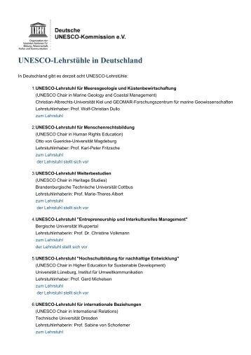 UNESCO-Lehrstühle in Deutschland