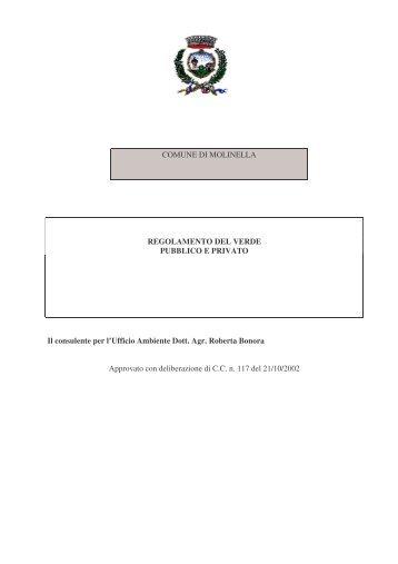 Regolamento verde pubblico - Comune di Molinella