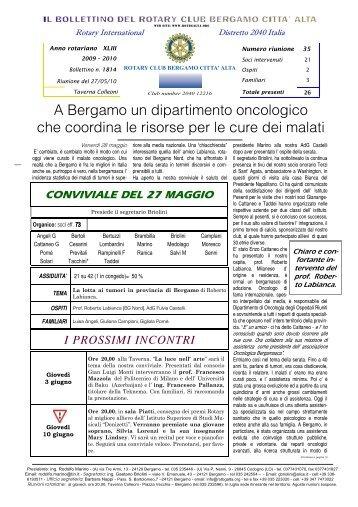 A Bergamo un dipartimento oncologico che coordina le risorse per ...