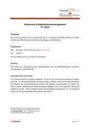 Vorlesung Erfolgsfaktorenmanagement FT 2010