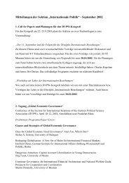 Mitteilungen der Sektion ?Internationale Politik? - September 2002
