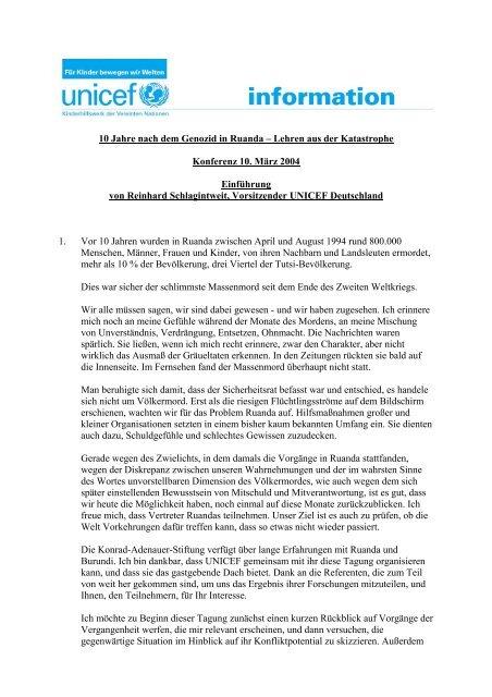 10 Jahre nach dem Genozid in Ruanda – Lehren aus der ... - Unicef