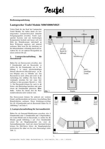 Lautsprecher Teufel Module M80/M800/M825
