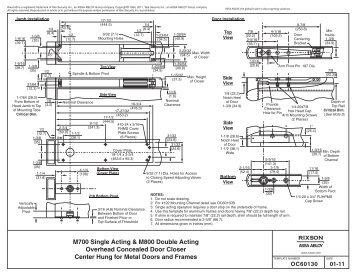 Rixson Model 10 Duo Check Template Installation Epivots