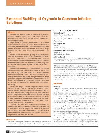 Extended Stability of Oxytocin in Common Infusion Solutions