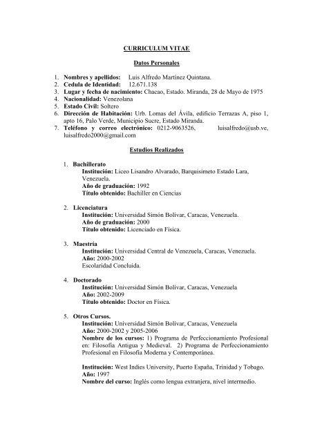 Curriculum Vitae Universidad Simón Bolívar
