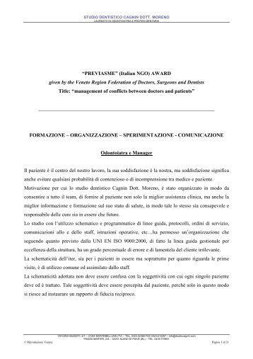 Premio Fondazione Previasme Onlus - Studio Cagnin