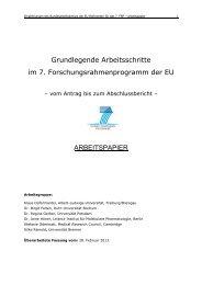 Grundlegende Arbeitsschritte im 7. Rahmenprogramm der EU