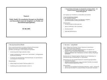 Thema 4: Public Health. Ein erweitertes Konzept von Krankheit und ...