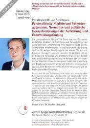 Personalisierte Medizin und Patienten - Wiko-greifswald.de