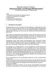 Anleitung Praktikum Röntgenpulverdiffraktometrie (Dr. Müller)