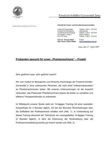 """Probanden gesucht für unser """"Phantomschmerz"""" – Projekt"""