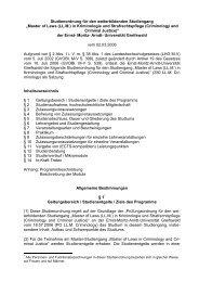 Master of Laws (LL.M.) in Kriminologie und Strafrechtspflege ...