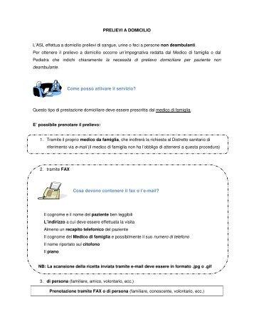 PRELIEVI A DOMICILIO L'ASL effettua a domicilio ... - ASL TO 1