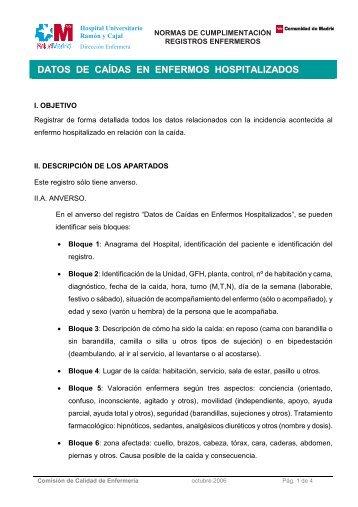 DATOS DE CAÍDAS EN ENFERMOS HOSPITALIZADOS