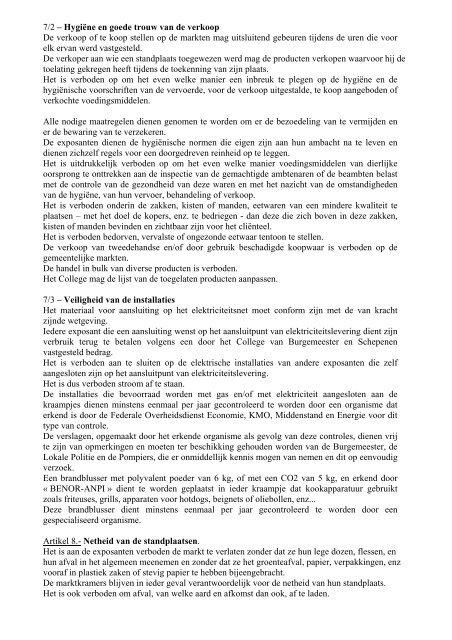 Reglement betreffende de ambulante activiteiten op de ... - Koekelberg