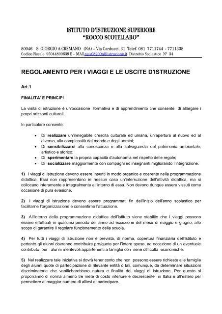 regolamento viaggi d'istruzione - IIS Rocco Scotellaro