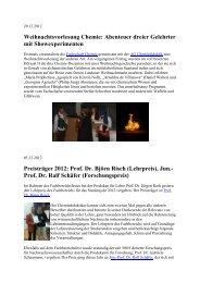 Weihnachtsvorlesung Chemie: Abenteuer dreier Gelehrter mit ...