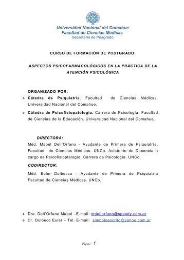 Curso - Facultad de Ciencias Médicas - Universidad Nacional del ...