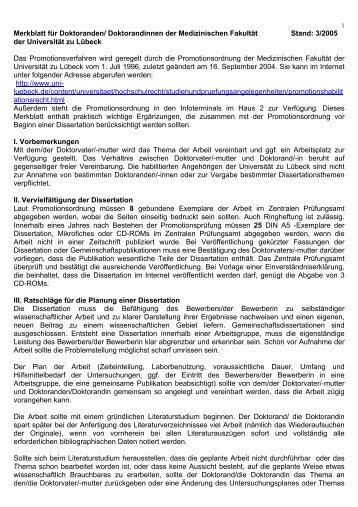 merkblatt dissertation rub medizin