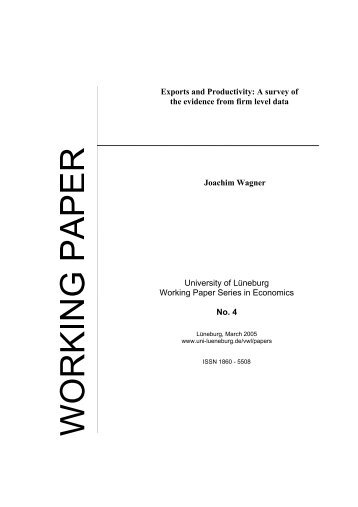 Exports and Productivity: A survey of the evidence from firm level ...
