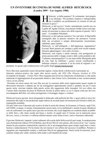 Dispensa Hitchcock.qxd - Cineforum del Circolo