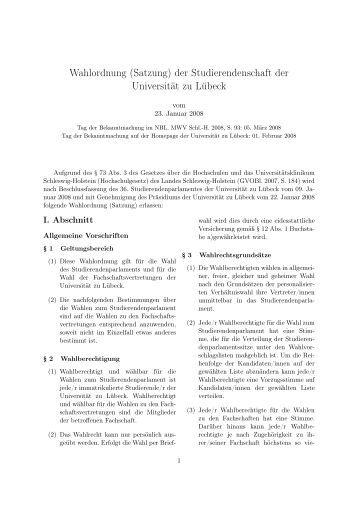 Wahlordnung (Satzung) - Universität zu Lübeck