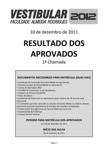 RESULTADO DOS APROVADOS - Faculdade Almeida Rodrigues