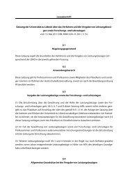 Verfahren und Vergabe von Leistungsbezügen sowie Forschungs
