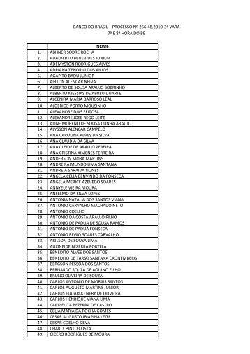 Lista dos beneficiários no primeiro processo